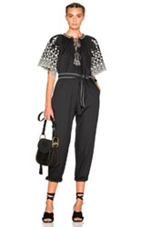 Ulla Johnson Alexi Floral Embroidered Poplin Jumpsuit In Black