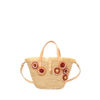 Vanessa Bruno Embroidered Raffia Flower Basket