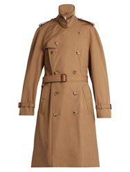 Gucci Tiger Applique Double Breasted Trench Coat Beige