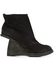Guidi Asymmetric Heel Ankle Boots Black