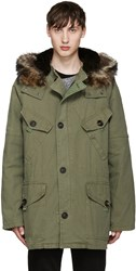 Yves Salomon Green Fur Lined Military Coat