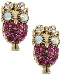 Betsey Johnson Antique Gold Tone Owl Stud Earrings