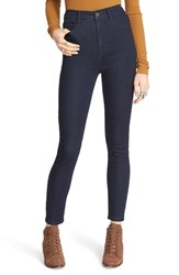 Free People Women's 'Cyndi' High Rise Skinny Jeans Dark Denim
