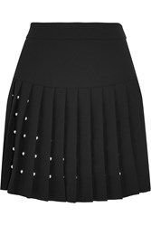 Mcq By Alexander Mcqueen Studded Crepe Mini Skirt Black