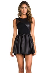 Donna Mizani Leatherette Sweetheart Flounce Dress Black