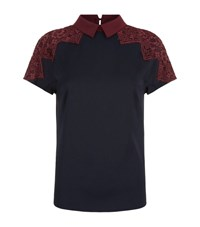 Ted Baker Quintaa Lace Trim Collar Top Female Black