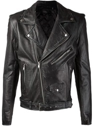 Blk Dnm Distressed Biker Jacket Black