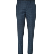 Paul Smith Blue Wool Checked Suit Trousers Gray