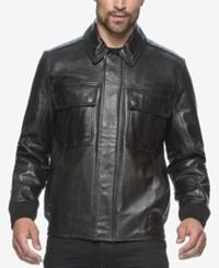 Marc New York Andover Leather Bomber Black