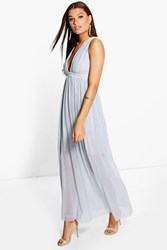 Boohoo Mesh Plunge Embellished Waist Maxi Dress Blue