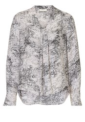 Betty And Co. Long Sleeved Marble Print Blouse Grey