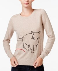 Maison Jules Cat Graphic Sweater Only At Macy's Heather Oatmeal