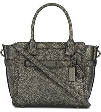 Coach Swagger 21 Pebbled Leather Tote Dk Gunmetal