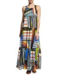 Missoni Mare Multi Stripe Tiered Maxi Dress Size 38 4 Orange Multi