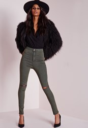 Missguided High Waisted Ripped Knee Skinny Jeans Khaki Beige