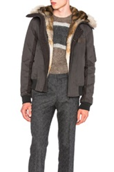 Yves Salomon Cotton Jacket With Coyote Fur In Gray