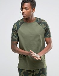Asos Loungewear T Shirt With Camo Print Sleeves Green