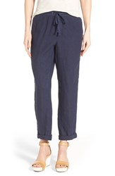 Caslon Women's Linen Tie Front Crop Pants Navy Peacoat