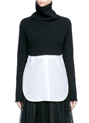 Valentino Cropped Virgin Wool Cashmere Sweater Black