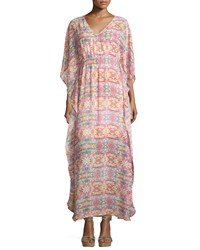 Neiman Marcus Geometric Print V Neck Maxi Dress Multicolor