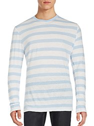 Slate And Stone Cotton Linen Striped Tee Light Blue White