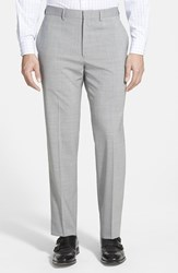 Men's Michael Kors Flat Front Stretch Wool Trousers Light Grey