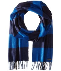 Ted Baker Tayo Large Block Check Scarf Blue Scarves