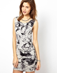 2Nd Day Bodycon Dress In Marble Print Marbleprint