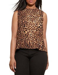 Lauren Ralph Lauren Plus Asymmetrical Back Crepe Tank Top Brown Multi