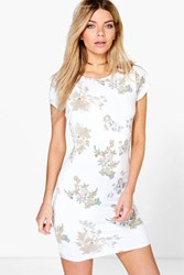 Boohoo Oriental Floral Cap Sleeve Shift Dress White