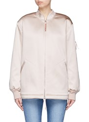 Alexander Wang Water Resistant Padded Satin Oversized Bomber Jacket Pink