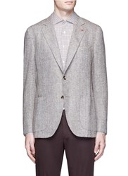 Isaia 'Sailor' Herringbone Blazer Brown