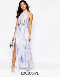 Fame And Partners River Maxi Dress In Pastel Print Pastel Dreamer Print
