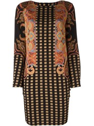 Etro Checked Paisley Print Shift Dress Multicolour