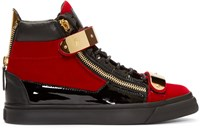 Giuseppe Zanotti Red And Black Velour High Top London Sneakers