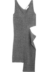 Stella Mccartney Cutout Melange Wool Blend Tunic Gray