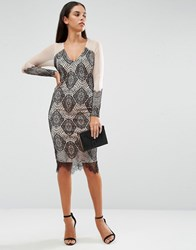 Ax Paris Lace And Mesh Long Sleeve Bodycon Dress Nude Black Pink