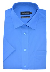 Double Two Short Sleeved Shirt Blue