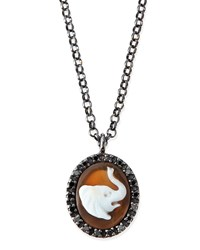 Hand Carved Elephant Cameo Necklace Amedeo White