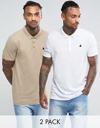 Asos 2 Pack Muscle Pique Polo Shirt With Logo In White Beige Multi