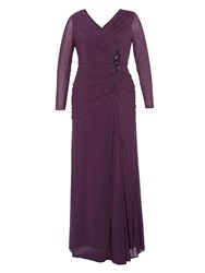 Chesca Beaded Mesh Maxi Dress Purple