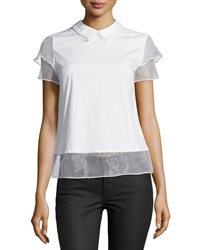 Cluny Short Sleeve Mesh Trim Poplin Blouse White