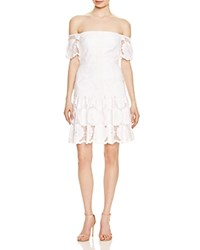 N Nicholas Sunflower Lace Off The Shoulder Dress White