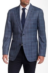 Kroon Grey Windowpane Two Button Notch Lapel Sport Coat Blue