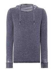 Red Soul Estienne Plain Funnel Neck Pullover Sweatshirt Navy