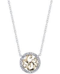 Unwritten Initial 'G' Pendant Necklace With Crystal Pave Circle In Sterling Silver And Gold Flash Two Tone
