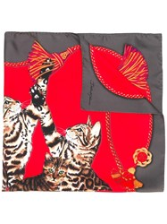 Dolce And Gabbana Bengal Cat Print Scarf Red