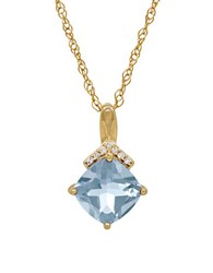 Lord And Taylor Aquamarine Diamond 14K Yellow Gold Pendant Necklace
