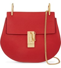 Chloe Drew Small Leather Cross Body Bag Plaid Red
