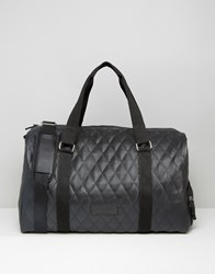 Heist Quilted Leather Look Holdall Bag Black